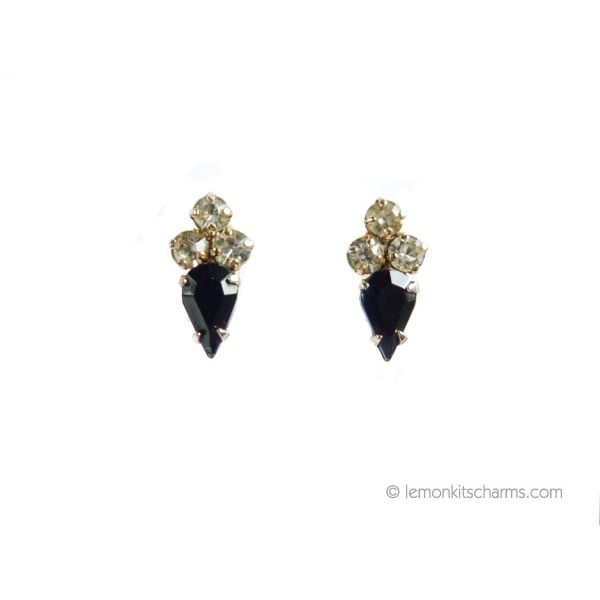 Vintage 1950s Small Black Teardrop Rhinestone Earrings