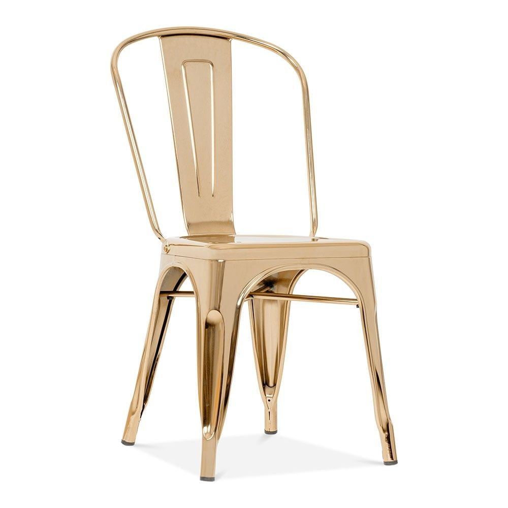 Xavier Pauchard Tolix Style Metal Side Chair Gold Side Chairs