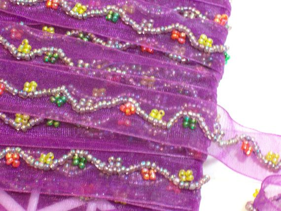 Purple Beaded Organza Ribbon Trim 3/4 inch wide by GriffithGardens, $1.50