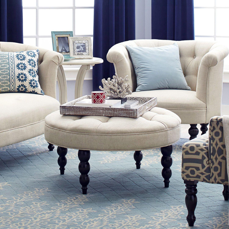 Tufted Ottoman Flax Beige ottoman, Wayfair living room