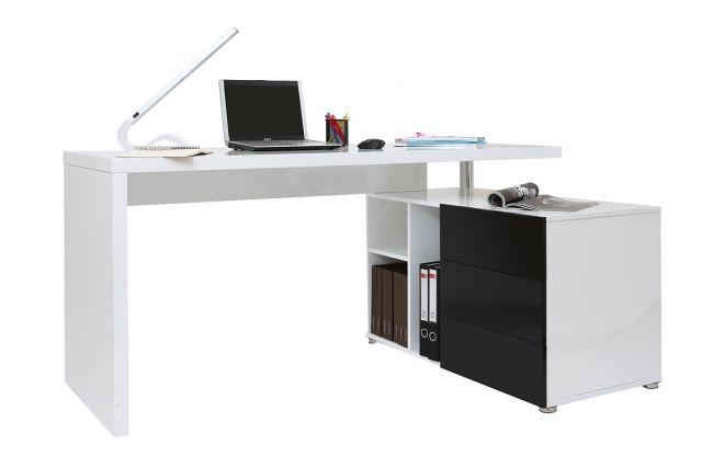 Bureau Design Laque Brillant Blanc Et Noir Avec Rangements A Droite Maxi Miliboo Bureau Design Design Meuble Design
