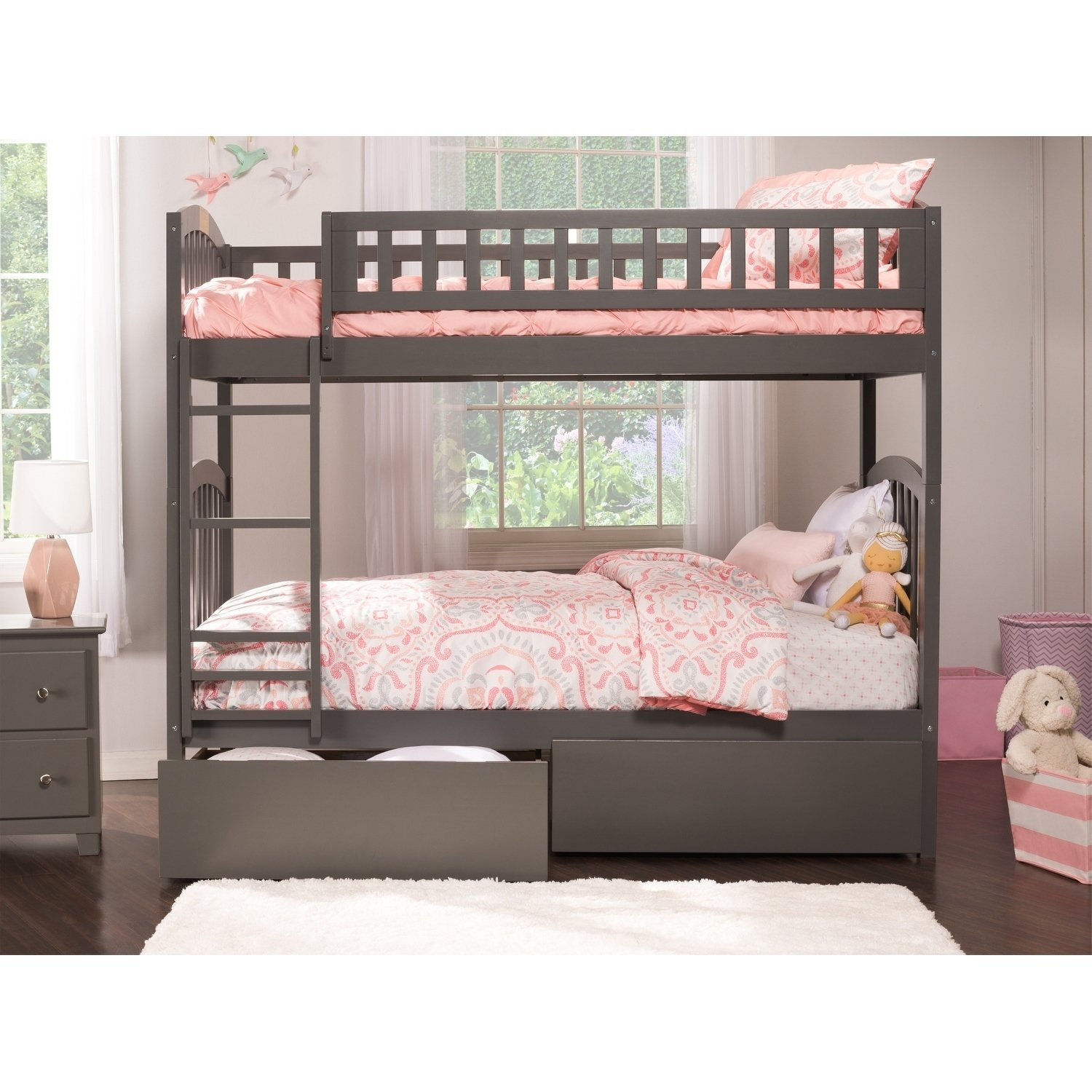 Richland Bunk Bed Twin Over Twin With 2 Urban Bed Drawers In Grey