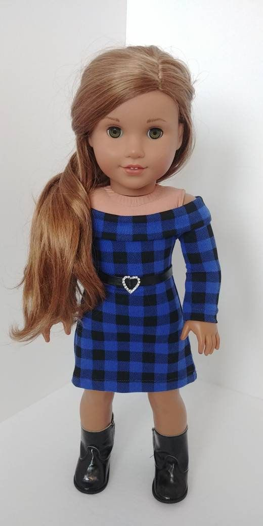18 inch Doll clothes .18 inch doll clothing. Fits like American girl doll clothing. Off the shoulder dress #18inchdollsandclothes
