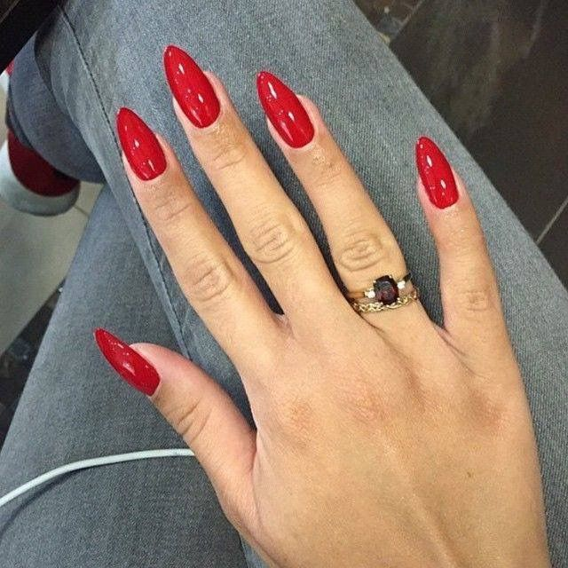 Red Almond Nails Red Acrylic Nails Almond Acrylic Nails Red Nails