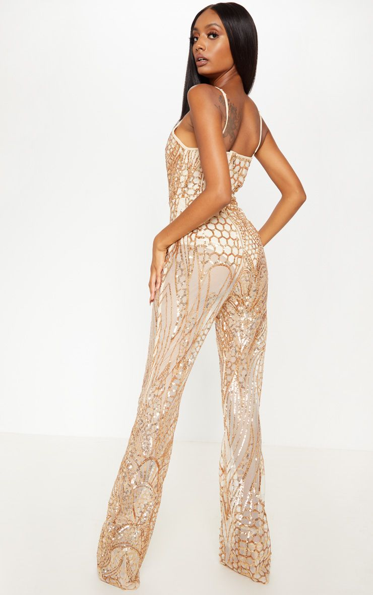 50cba7d7bf Gold Sequin Flared Leg Jumpsuit in 2019