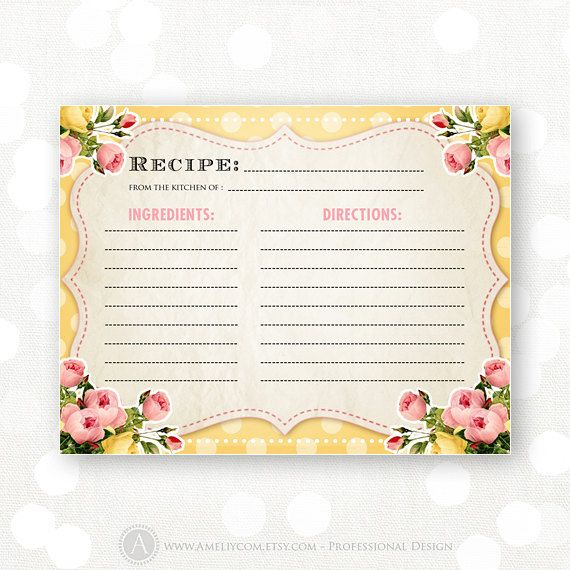 printable recipe card yellow shabby chic bridal shower instant download recipes for bride retro