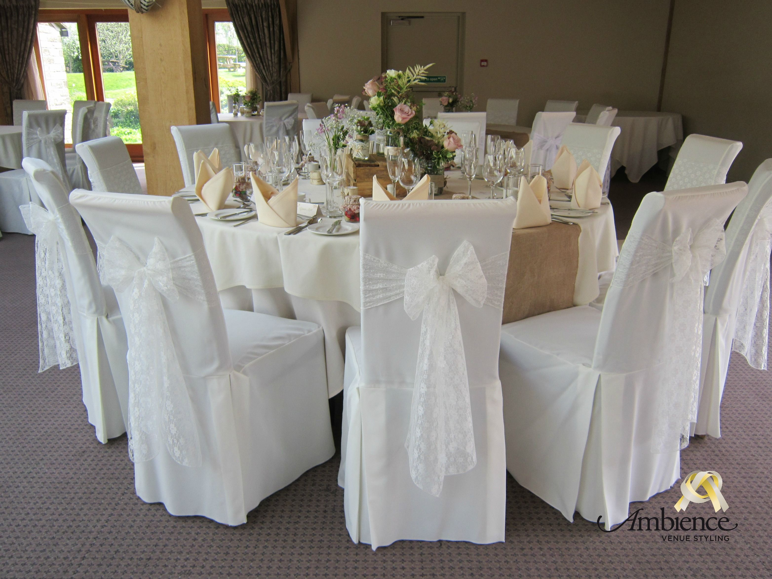 Ivory Chair Cover With Ivory Lace Sash In 2020 Getting Married