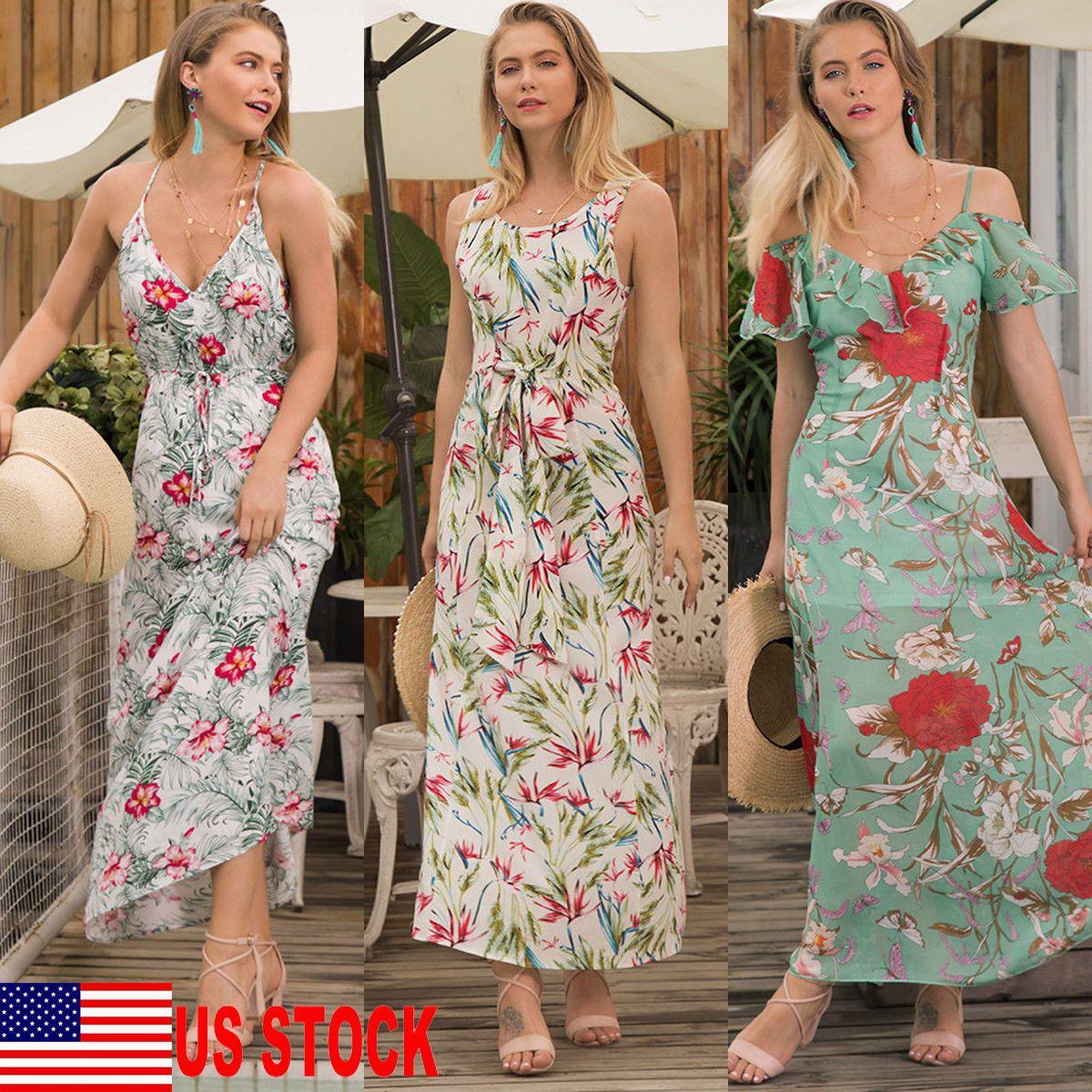 Women Floral Maxi Long Dress Summer Boho Casual Beach Evening Cocktail Party US