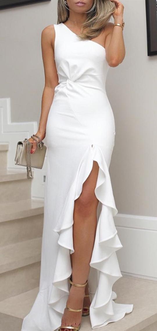 03ab6dc7fc One Shoulder Slit Long Prom Dress