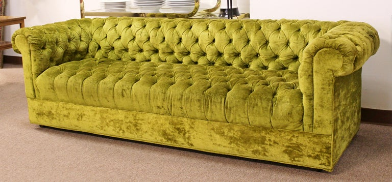 Mid Century Modern Century Pair Green Tufted Sofa Loveseat