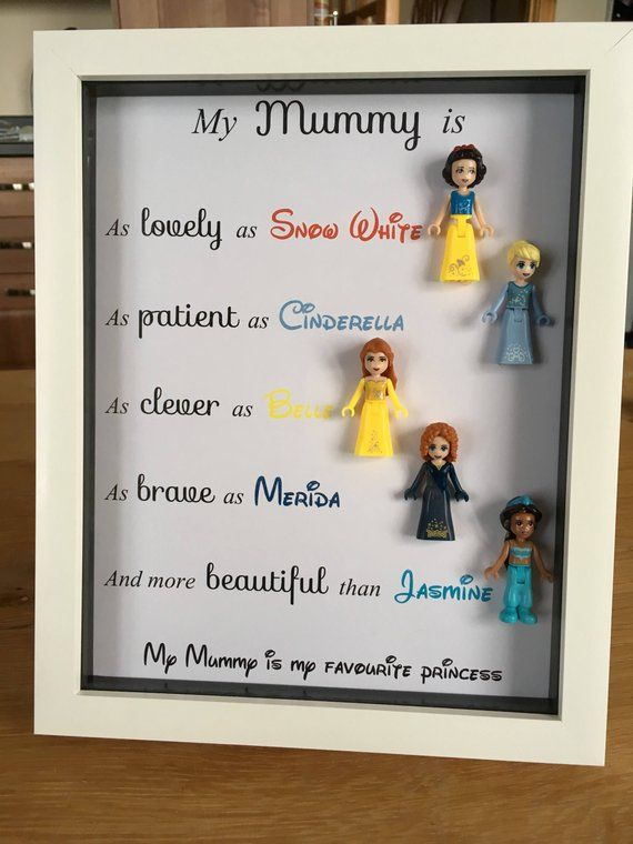 This frame would be perfect for a Mum/Mummy/Gran/Nana or as a gift for a child.  What better a way to show them how much you think of them as lovely, patient, clever, brave and beautiful than to present them this frame. This shows that they must be a really special princess to have all of these