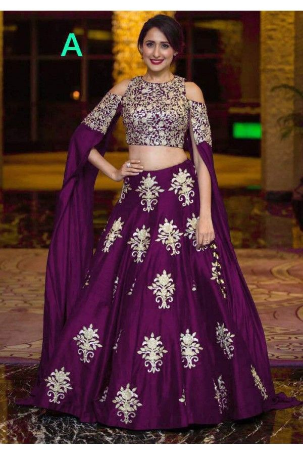 Bollywood Style Party Wear Purple Crop Top Lehenga 9118 A