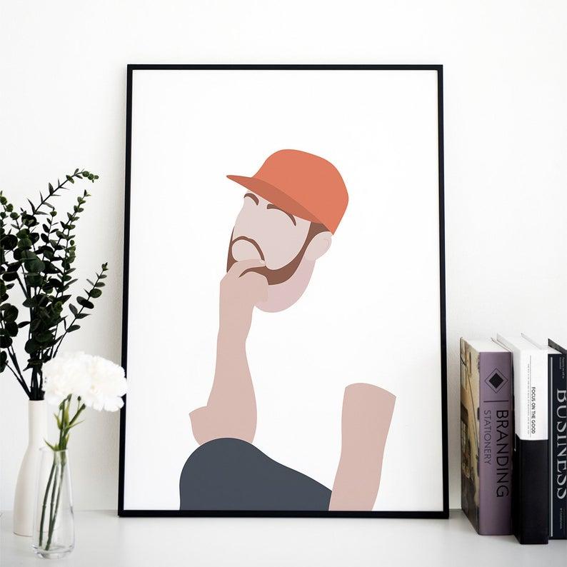 Mac Miller poster / Rap poster, Rapper portrait, Rap wall art, Hip hop wall art, Minimalist wall art, Pop art decor, Bedroom, PRINTABLE #macmiller