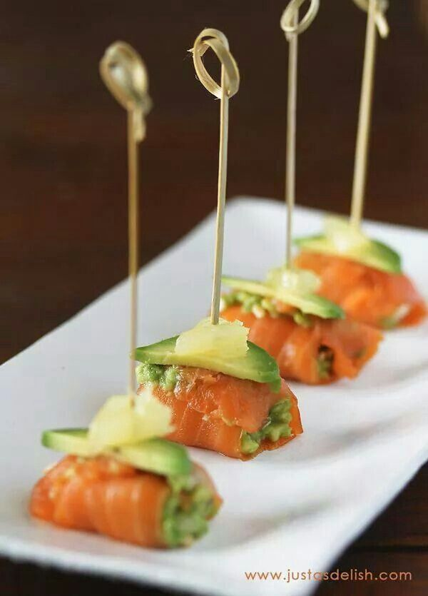 Salmon avacado bites appetizers snacks tapas for Simple canape appetizer