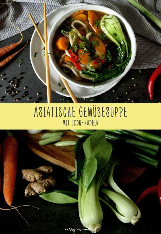 Asiatische Gemüsesuppe mit Udon-Nudeln | Rezept auf carry on cooking