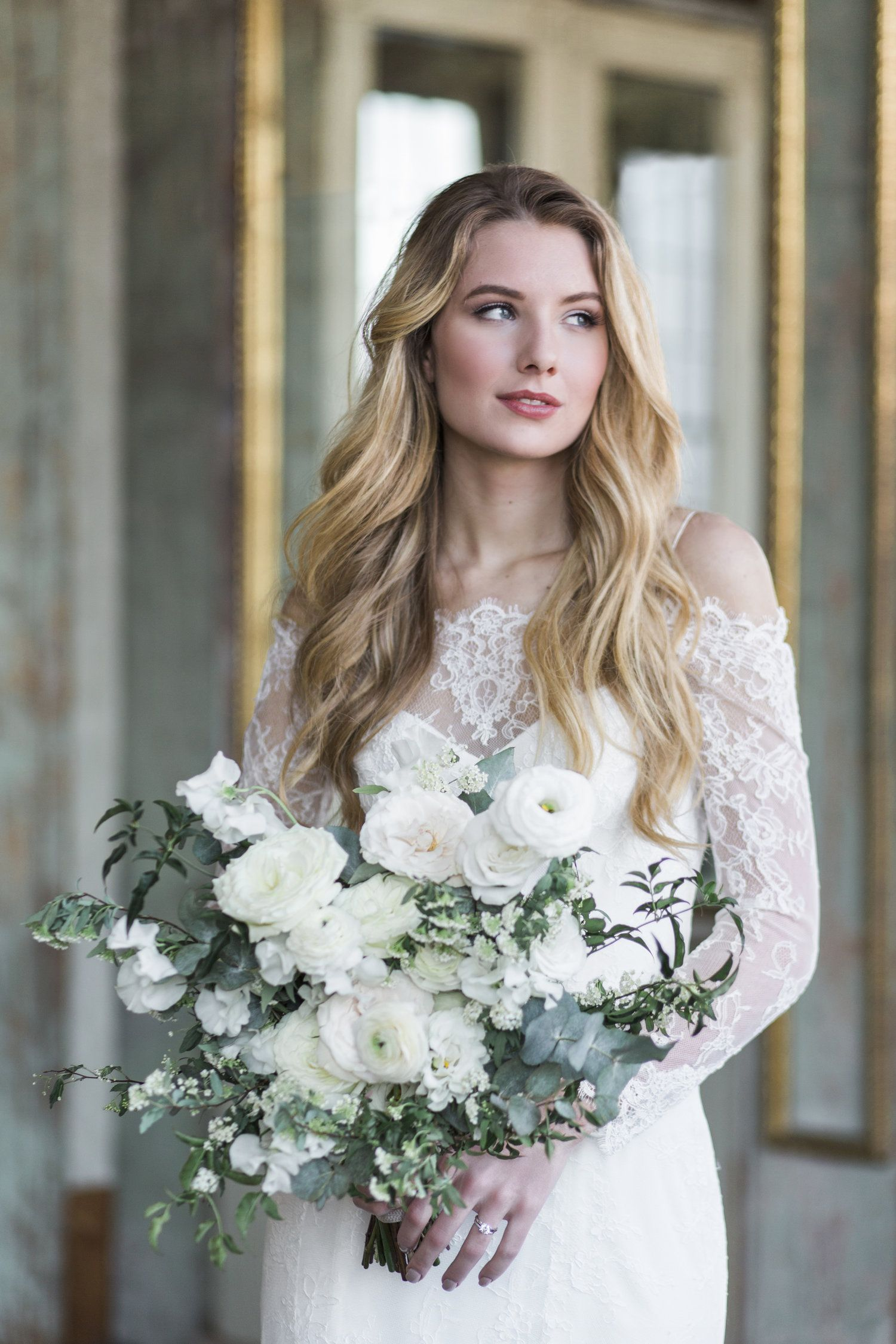 Bouquet By Designs By Ahn White Green Garden Roses Wedding