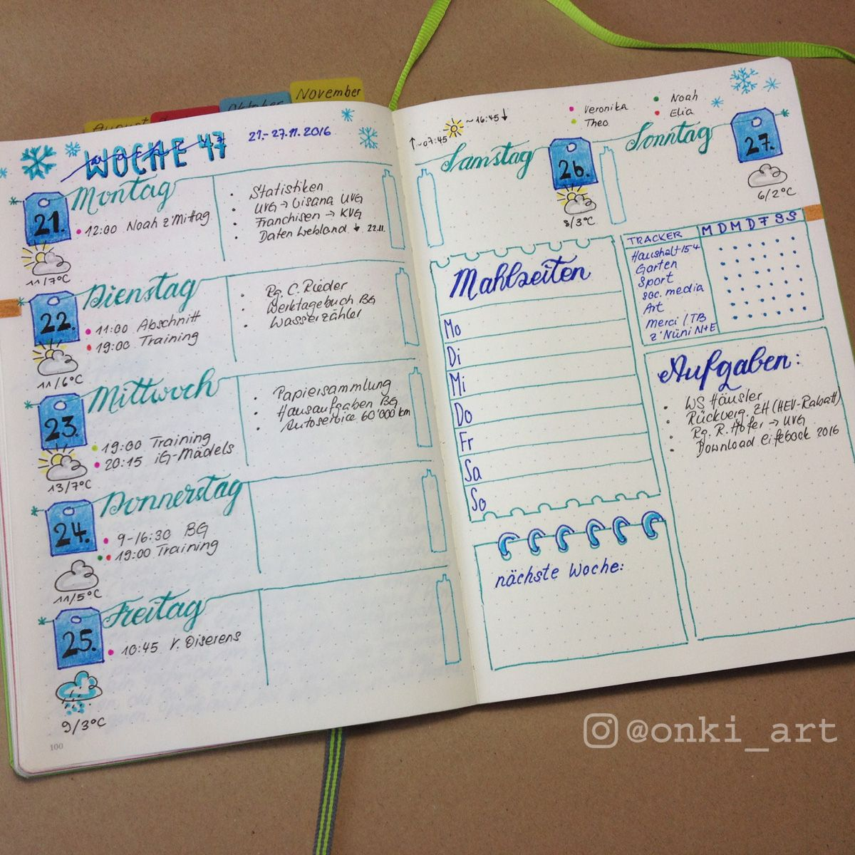 bullet journal weekly spread woche 47 | BuJo - Layouts | Pinterest ...