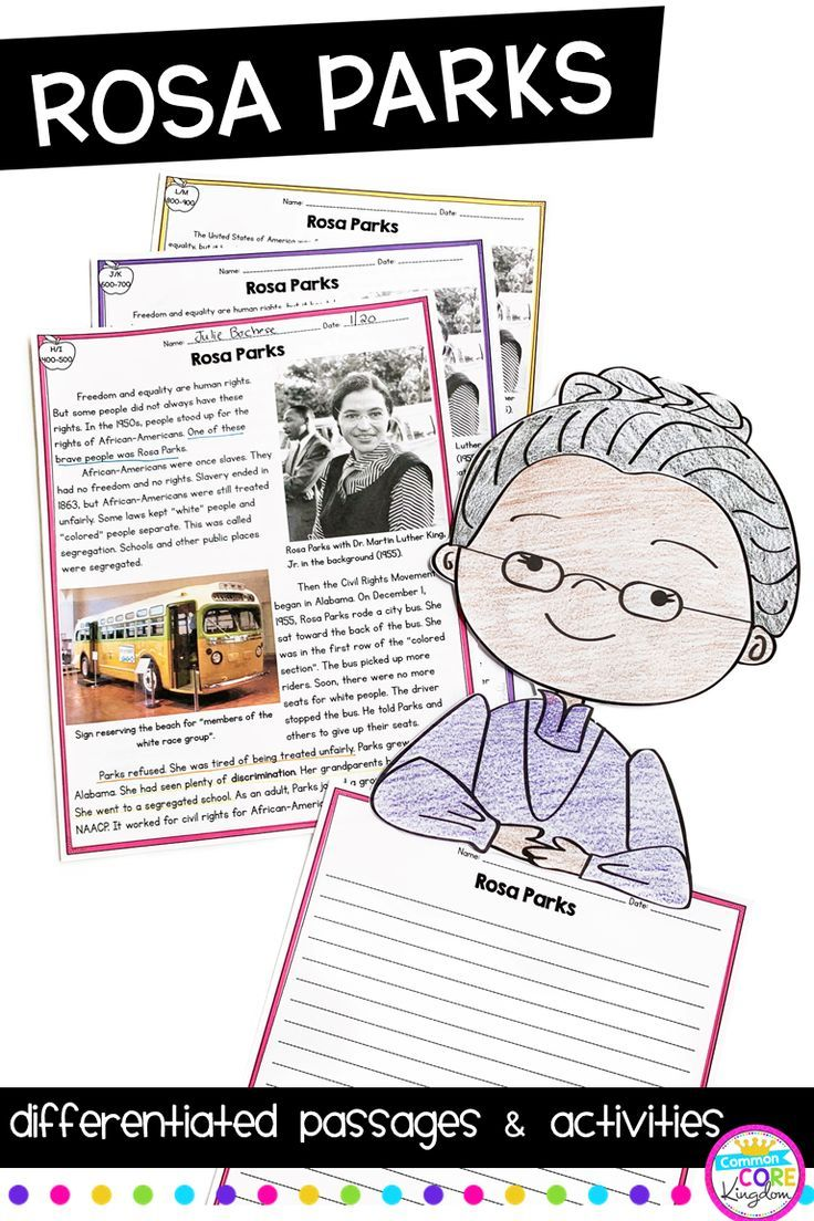 Rosa Parks Differentiated Reading and Writing Activities