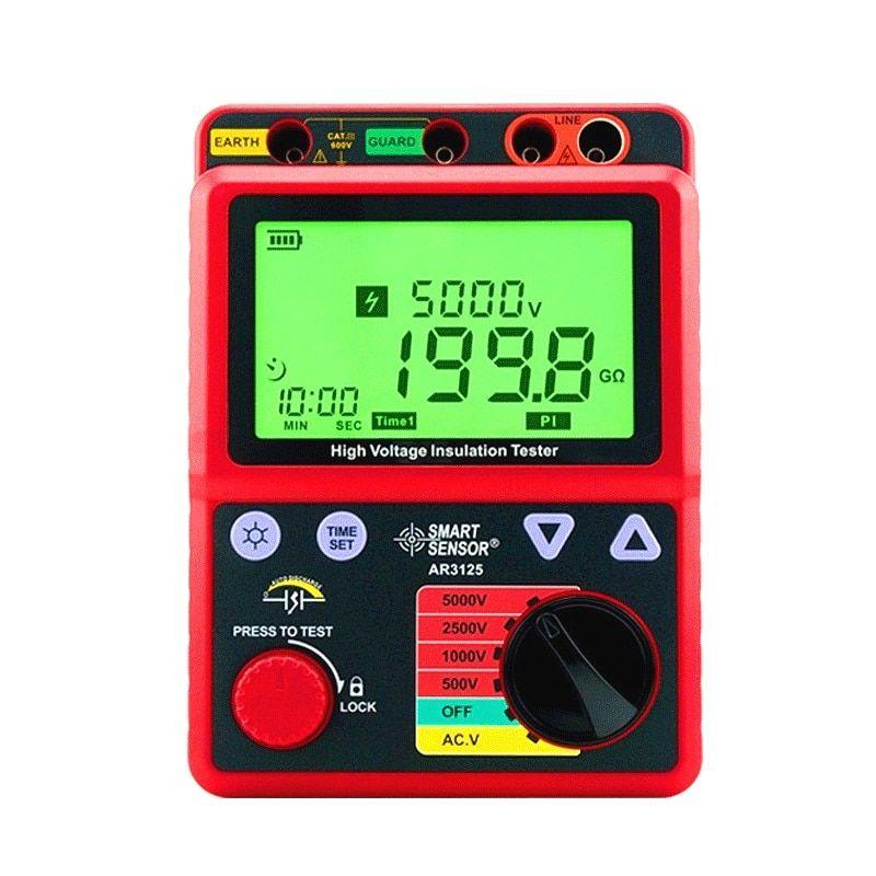 Smart Sensor Ar3125 500 5000v Megohmmeter High Voltage Insulation Resistance Tester Megger Smart Sensor Ar3125 Sensor High Voltage Preventive Maintenance