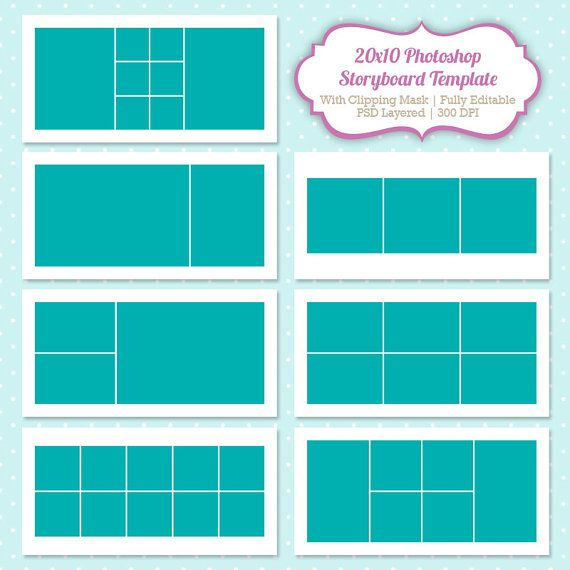 Instant Download Storyboard Photoshop Templates 20X10 Digital
