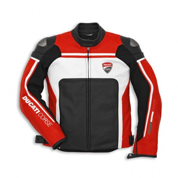 DUCATI DAINESE CORSE 14 PERFORATED LEATHER RED/WH MOTORCYCLE JACKET