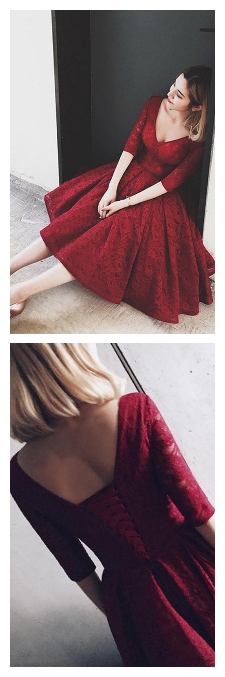 Burgundy vneck sleeves lace knee length homecoming dresses
