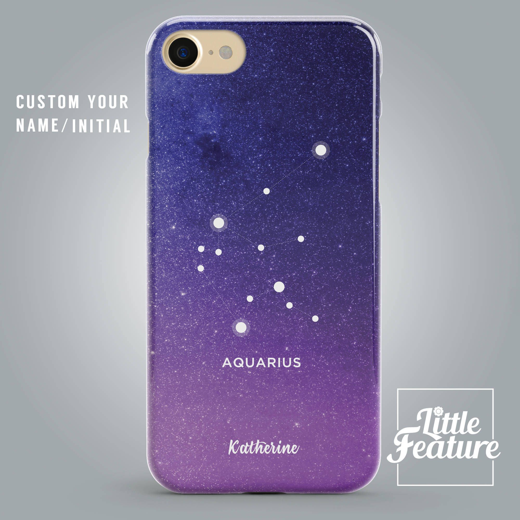 Zodiac Gifts for Aquarius iPhone 8 Plus Case, Constellation iPhone X, 7, 6S, Galaxy, Personalised Birthday Gift Samsung Galaxy S8 Taurus Leo by ...