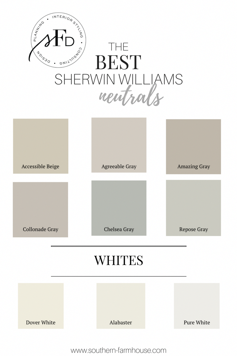 Favorite neutral paint colors from Southern Farmhouse Designs! #farmhousePaintColors #indoorpaintcolors