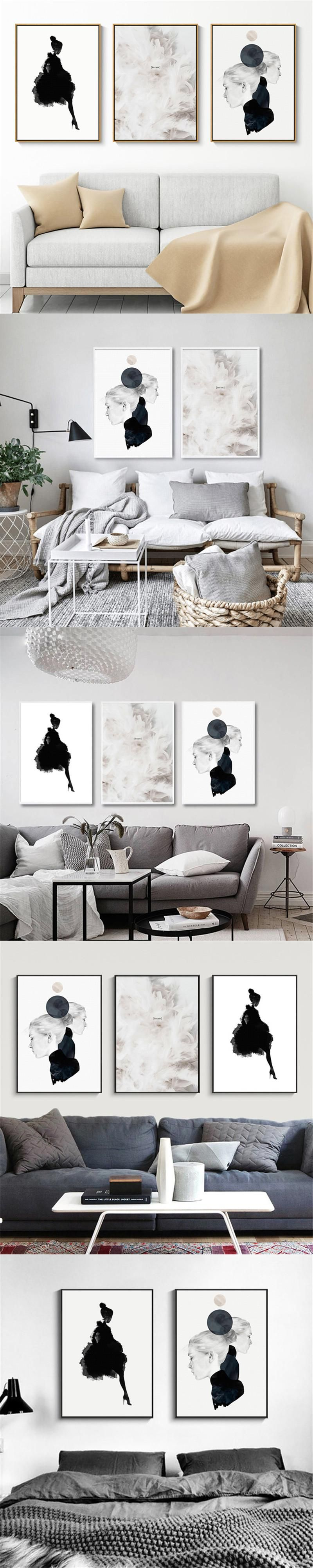 Cuadros Decoracion Art Black Girl Nordic Canvas Painting Posters And ...