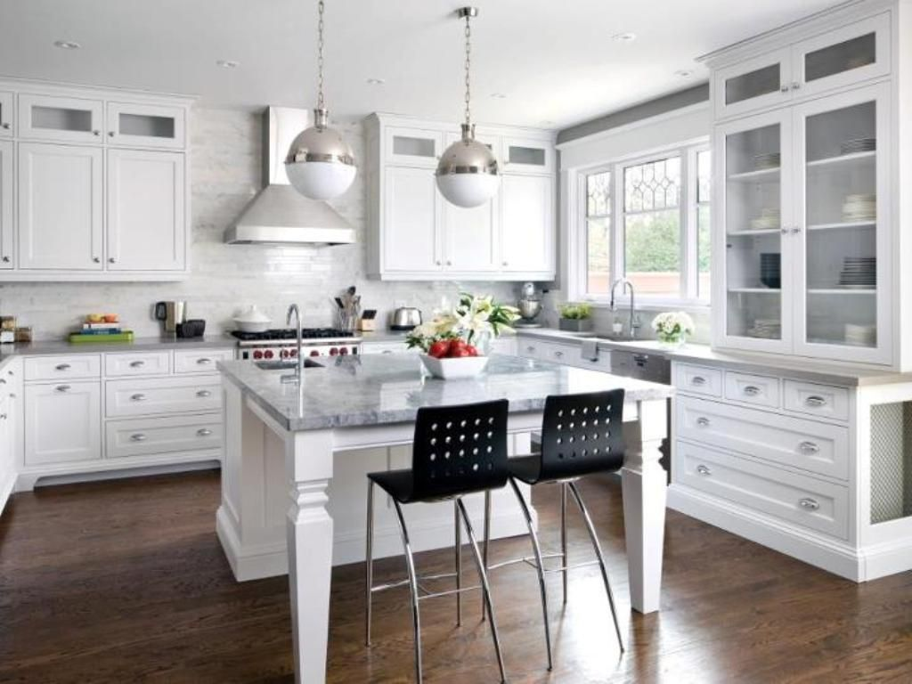 white shaker kitchen cabinets dark wood floors | kitchen idea