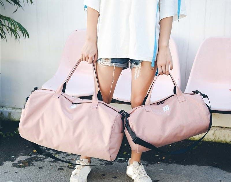 9d1008f95525 Best Price 2018 Top Female Sports Nylon Gym Bags Lady s Fitness Yoga Bag  Handbags for Women Over the Shoulder Fancy Travel Bag Pink XA507WD