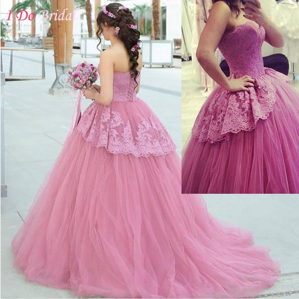 Pink wedding dress lace sweetheart ball gown abito da sposa romantic
