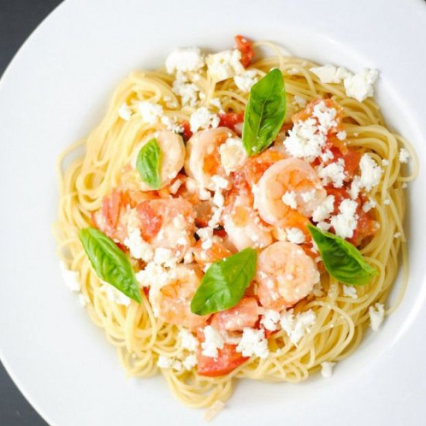 Angel Hair Pasta With Shrimp And Feta Recipe Seafood Recipes