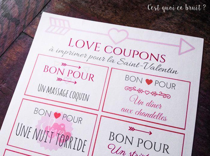 Des Bons Damour à Imprimer Pour La Saint Valentin Cadeau