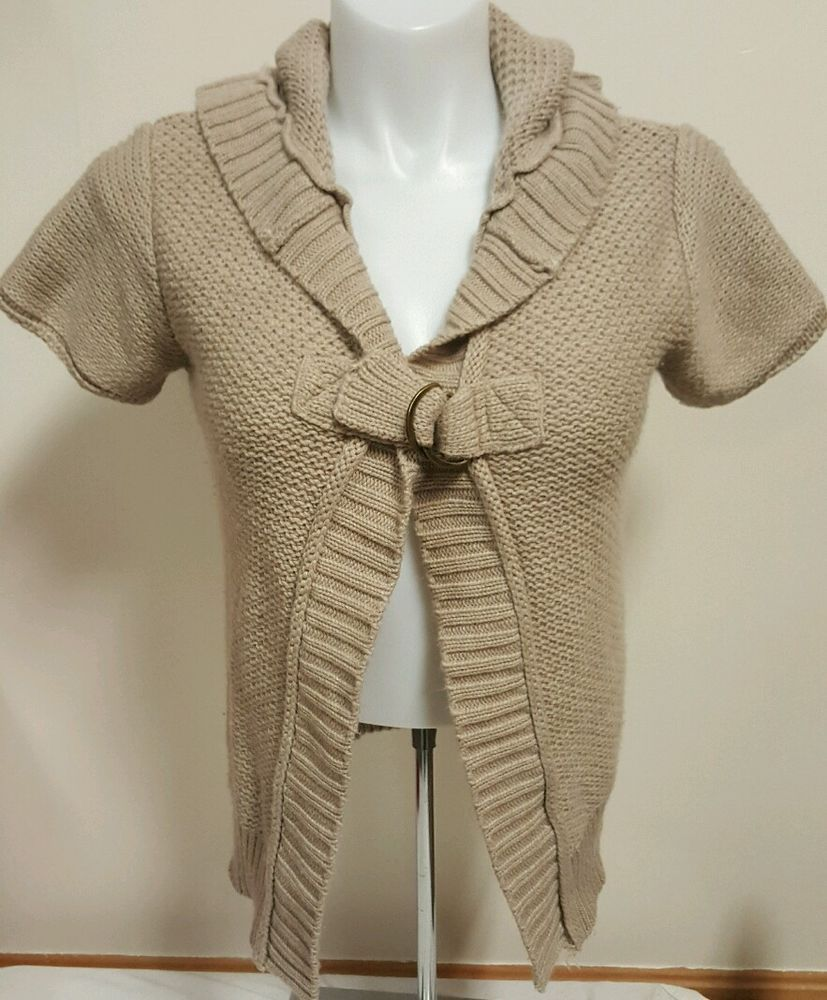 Details about Maurices Women's Sweater Tan Short Sleeve Hooded ...