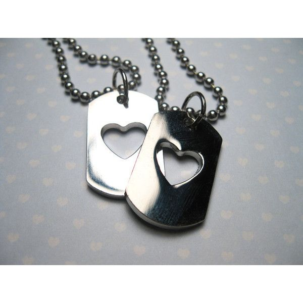 e2ff5a9bcf Heart Love Dog Tags Boyfriend Girlfriend Best Friends Matching... ❤ liked  on Polyvore