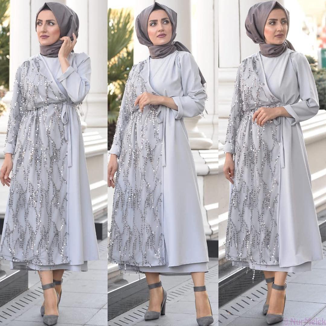 2019 A Damga Vuracak Tesettur Mezuniyet Elbiseleri Elbise Abaya Modasi Payet Elbise