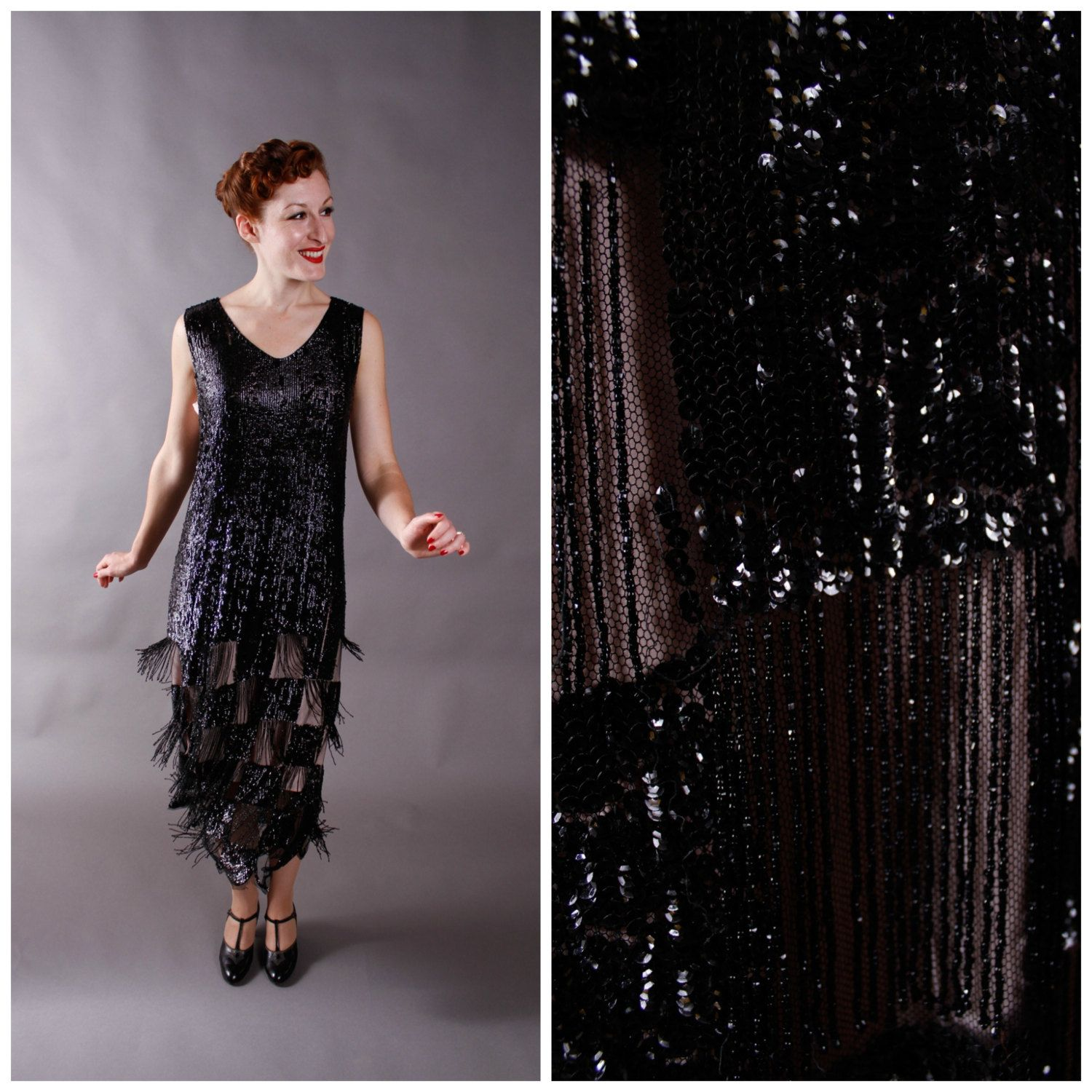 1920s Vintage Dress  Incredible Sequined and Fringed by FabGabs, $1,200.00
