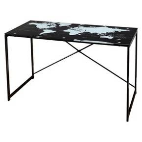 Ellis world map desk black desks glass top desk and decor styles featuring a world map design this contemporary glass top desk is both fun and functional gumiabroncs Gallery