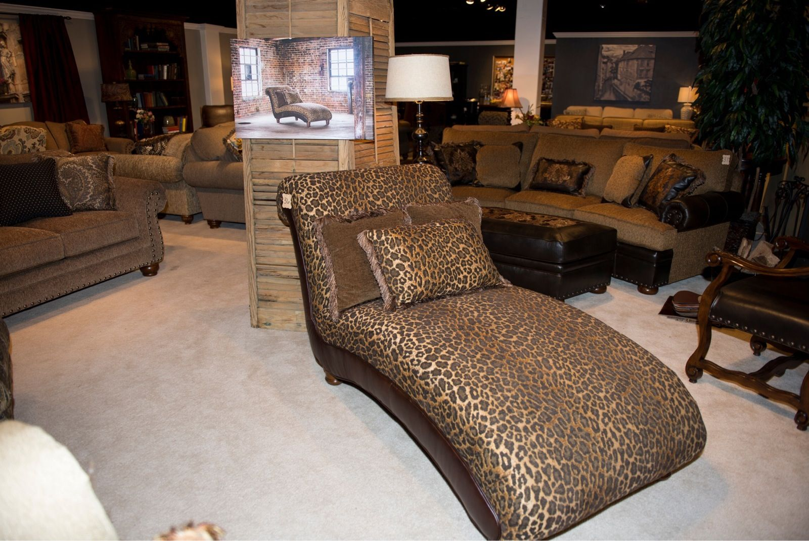Kick back and relax in style on this leopard print chaise for Best buy furniture houston