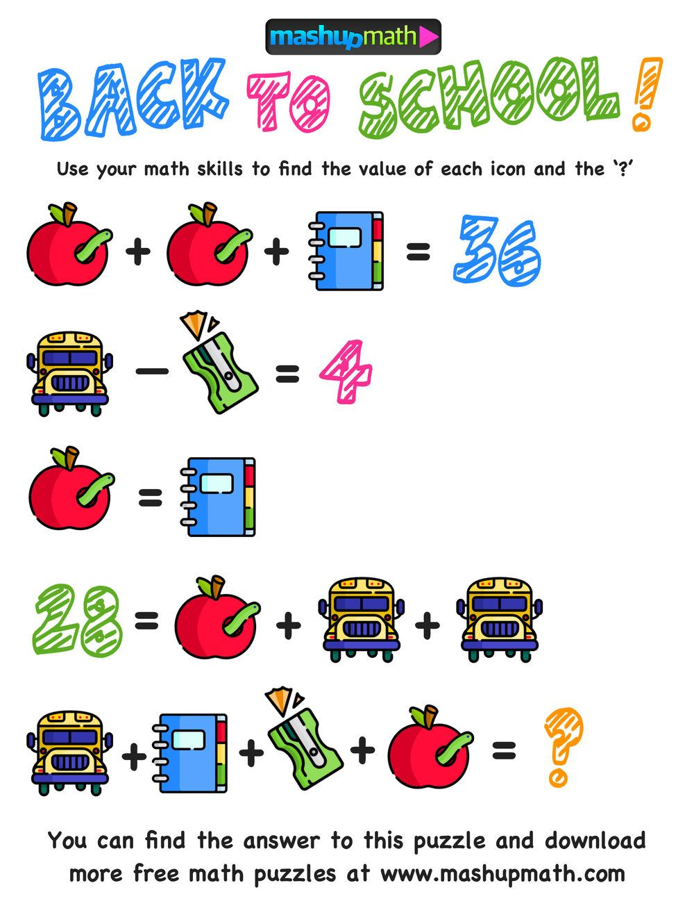 Here Are The Only Free Back To School Math Worksheets You Ll Ever Need Mashup Math Maths Puzzles Math Puzzles Middle School Math Challenge