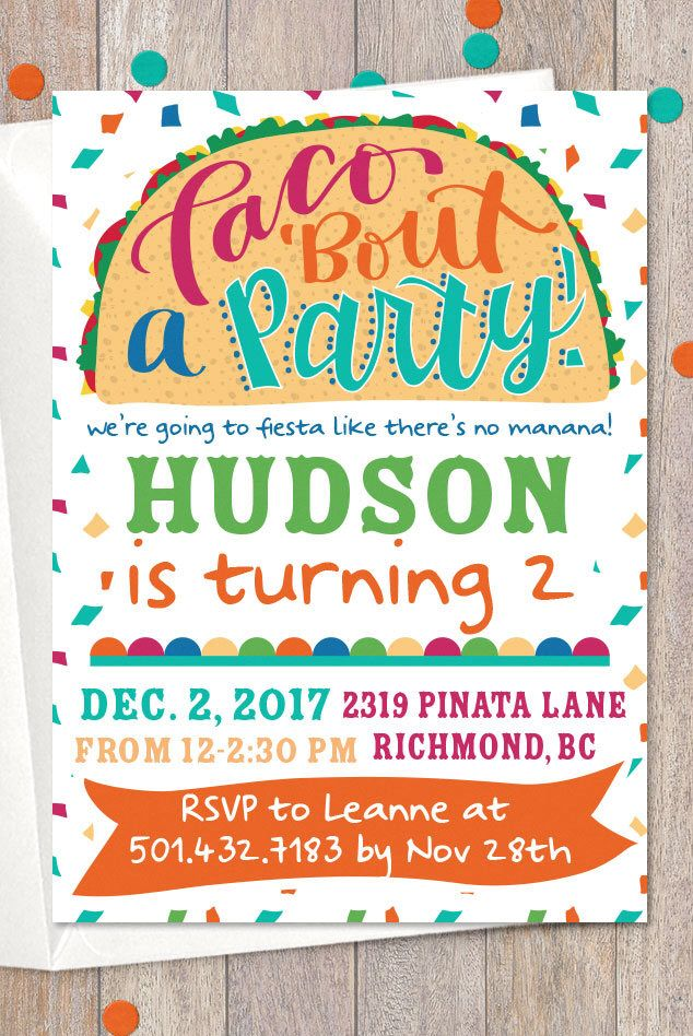 taco twosday party invitation printable first fiesta invite