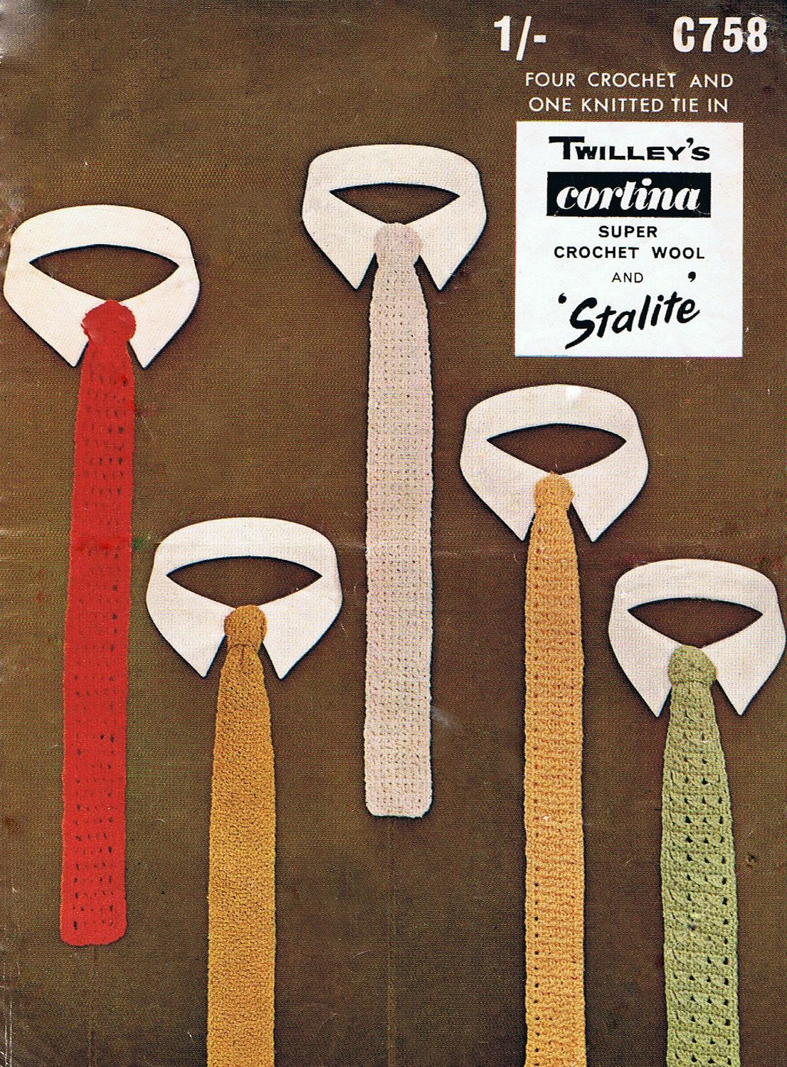 5 Skinny Ties - Knitting and Crochet Pattern Mens Tie PDF Vintage ...