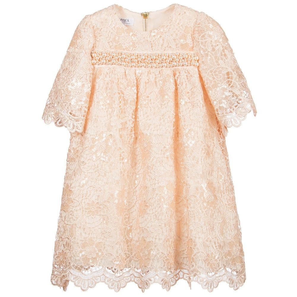 girls beautiful salmon pink lace guipure dress made with an a
