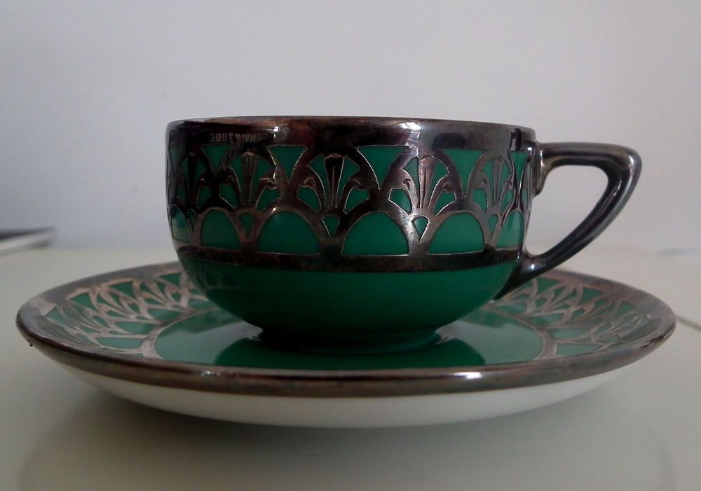 RARE Rosenthal Selb Green German Porcelain Silver Overlay Demitasse Cup