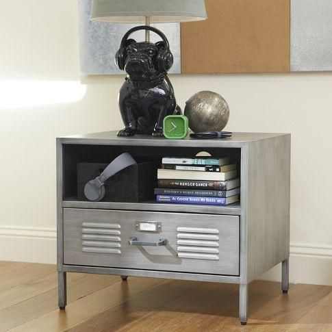 galvanized metal furniture for a teen room | ... nightstand ...