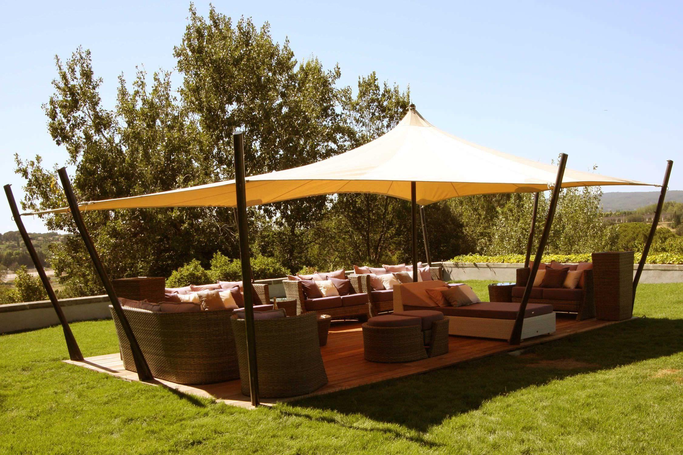 holz pavillon stoffdach tente touareg jardin aixois. Black Bedroom Furniture Sets. Home Design Ideas