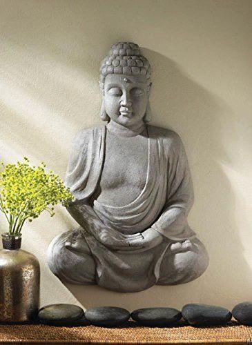 Thai Meditation Buddha Wall Mounted Statue Sculptures Home Kitchen
