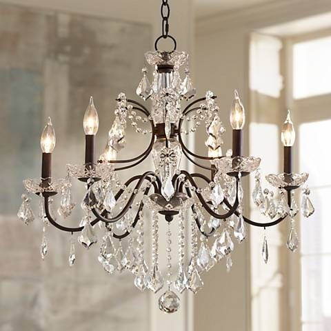 Beverly 26 Wide Dark Bronze Frame Clear Crystal Chandelier 4f449 Lamps Plus Crystal Chandelier Dining Room Crystal Chandelier Chandelier Lighting Fixtures