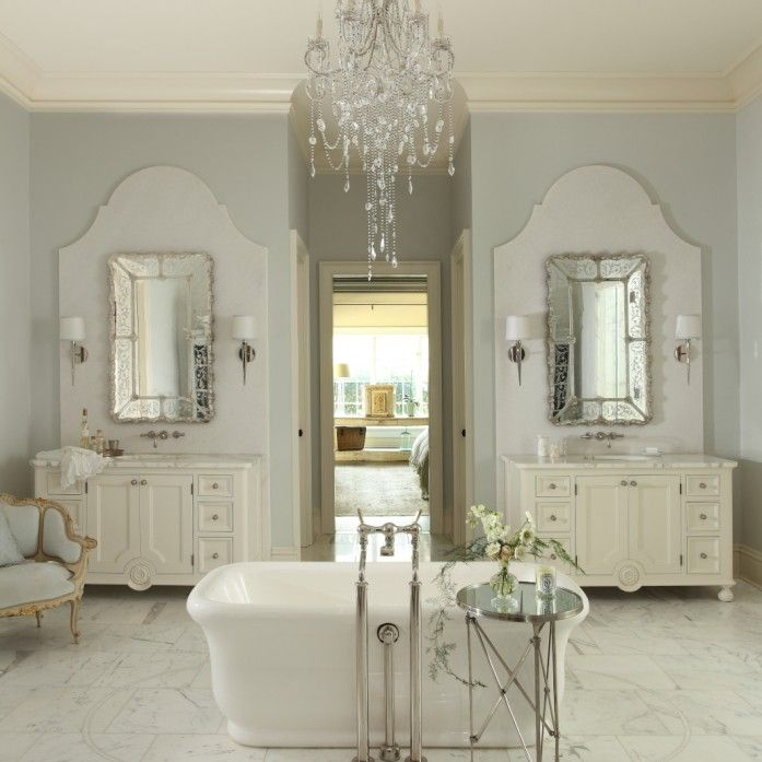 Bathroom Tub Chandeliers french bathroom features crystal chandelier suspended over